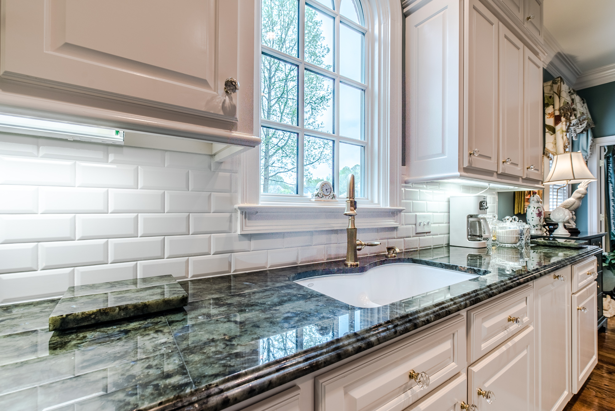 Subway tile backsplash with white subway tiles at East Coast Granite & Tile