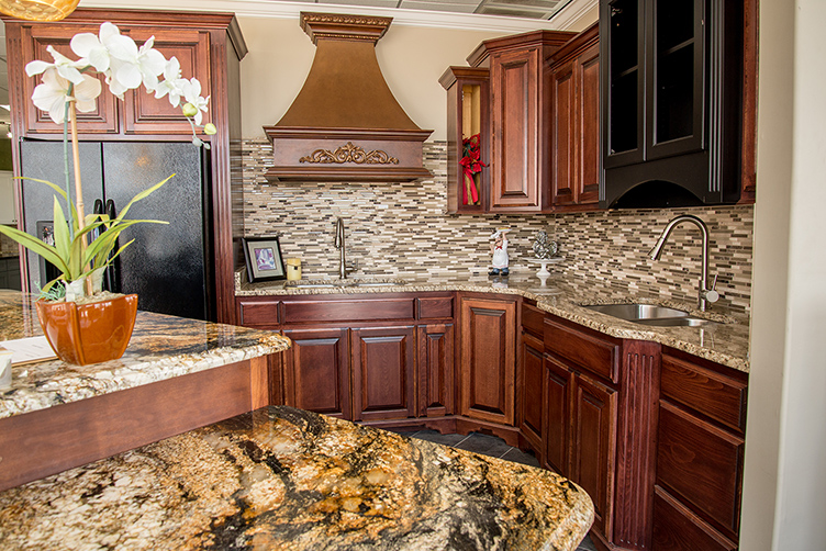 Kitchen Island With Golden Crystal Granite Paired With Stone Radiance Tile  Backsplash, Ornamental Granite Countertops