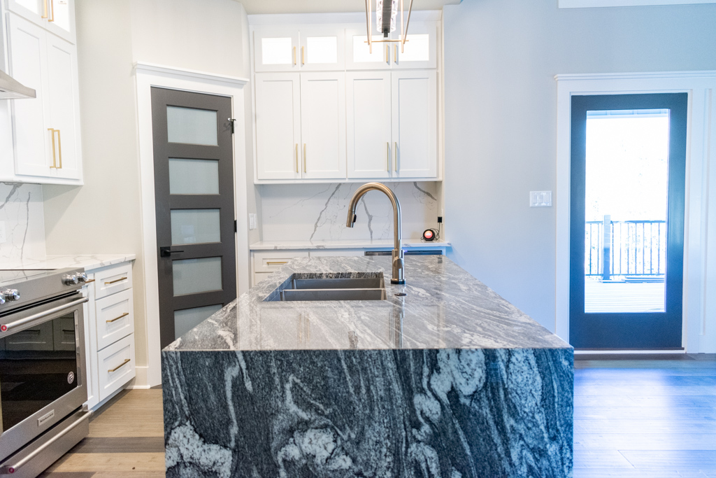 Juperana Dream granite island top with waterfall edges