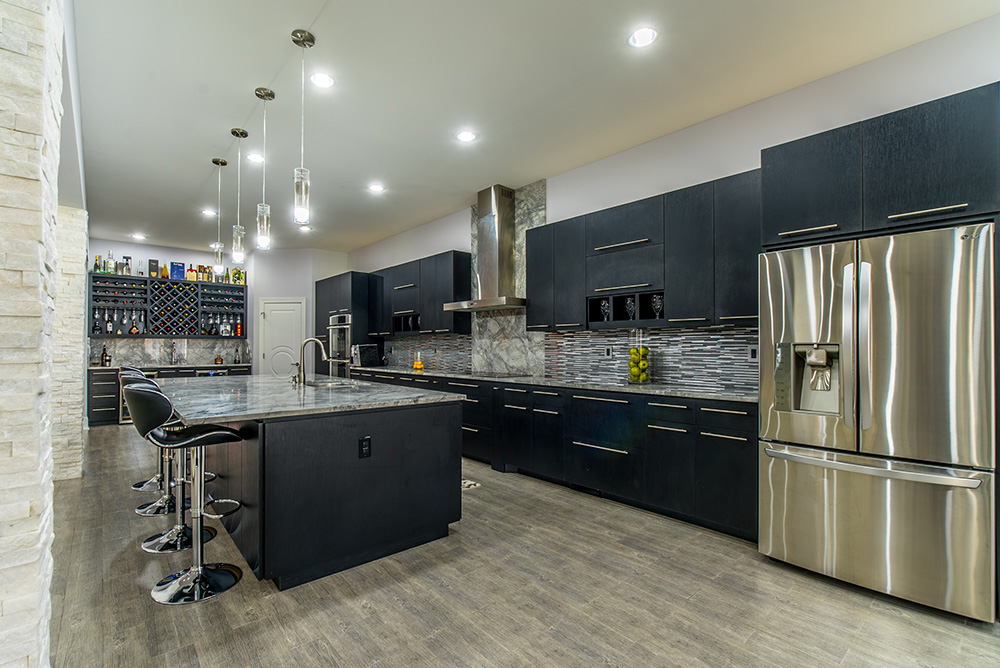 Kitchens With Gray Cabinets And Black Stainless Appliances