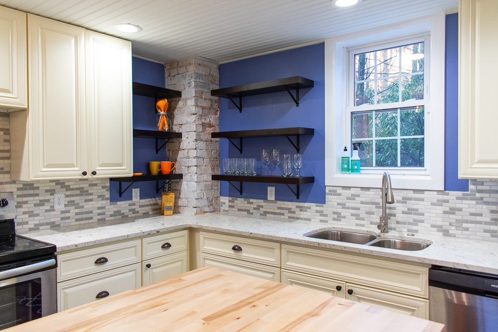 Kitchen Countertops Topped With Tropical White Quartz And Stainless Steel Sink